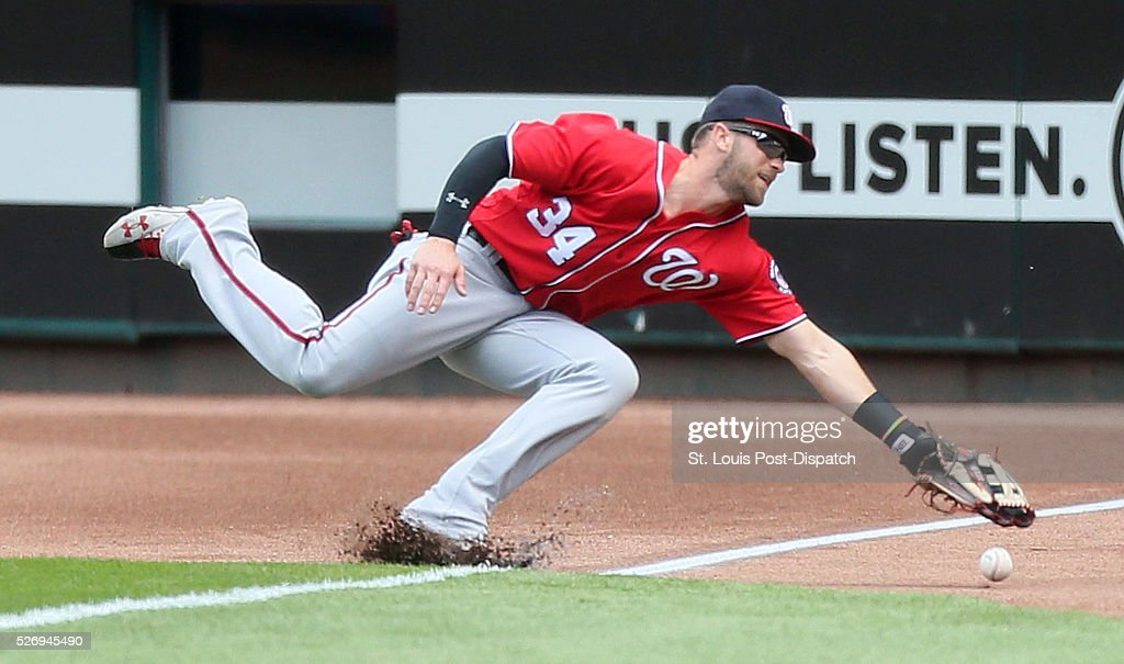 Washington Nationals right fielder Bryce Harper is unable to catch a line drive off the bat of St. Louis Cardinals' Matt Holliday that landed just foul during the first inning on Sunday, May 1, 2016, at Busch Stadium in St. Louis.