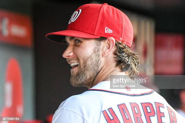 Washington Nationals right fielder Bryce Harper smiles in the dugout during an MLB game between the Miami Marlins and the Washington Nationals on...