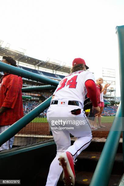 Washington Nationals right fielder Bryce Harper takes the field at the start of an MLB game between the Miami Marlins and the Washington Nationals on...