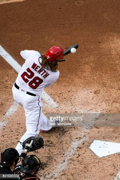 Washington Nationals right fielder Jayson Werth breaks his bat in the fifth inning during an MLB game between the Miami Marlins and the Washington...