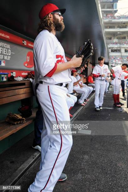Washington Nationals right fielder Jayson Werth prepares to take the field for an MLB game between the Miami Marlins and the Washington Nationals on...