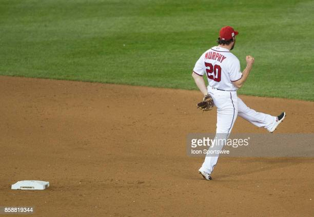 Washington Nationals second baseman Daniel Murphy celebrate his double play that ended the game during game two of the NLDS between the Chicago Cubs...