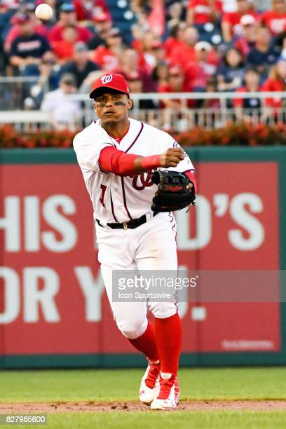 Washington Nationals shortstop Wilmer Difo fields a first inning ground ball during an MLB game between the Miami Marlins and the Washington...