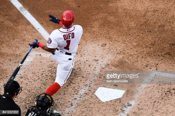 Washington Nationals shortstop Wilmer Difo hits a fifth inning solo home run during an MLB game between the Miami Marlins and the Washington...
