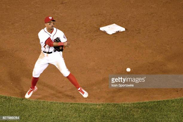 Washington Nationals shortstop Wilmer Difo throws to first base in the sixth inning during an MLB game between the Miami Marlins and the Washington...