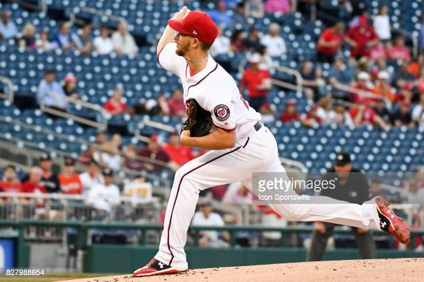 Washington Nationals starting pitcher AJ Cole pitches during an MLB game between the Miami Marlins and the Washington Nationals on August 8 at...