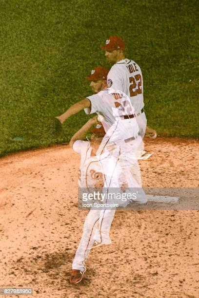 Washington Nationals starting pitcher AJ Cole pitches in an in camera multiple exposure in the fifth inning during an MLB game between the Miami...
