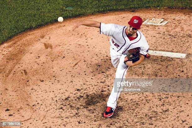 Washington Nationals starting pitcher AJ Cole pitches in the fifth inning during an MLB game between the Miami Marlins and the Washington Nationals...