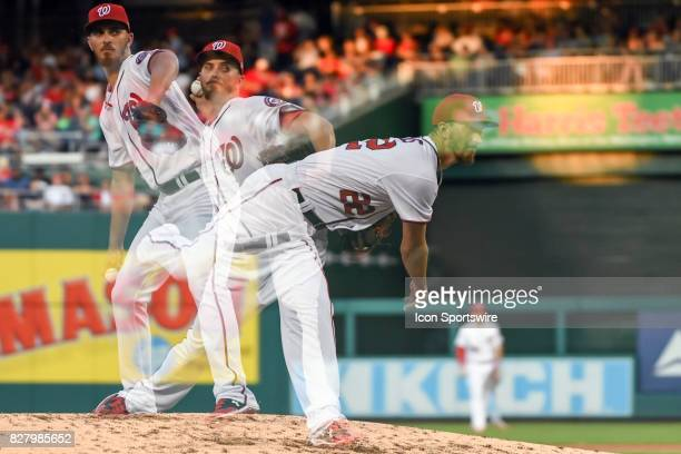 Washington Nationals starting pitcher AJ Cole pitches in the second inning in an in camera multiple exposure during an MLB game between the Miami...