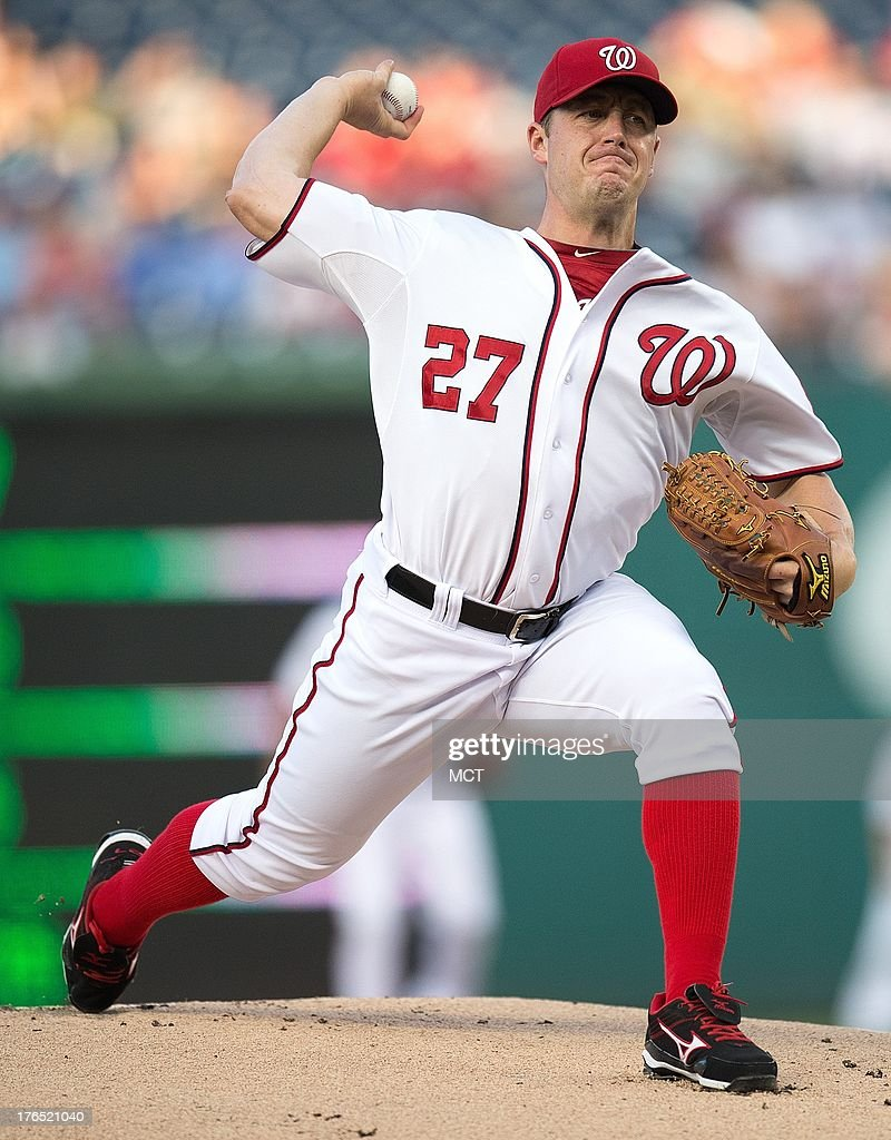 Washington Nationals starting pitcher Jordan Zimmermann (27) delivers a pitch against the San Francisco Giants during the first inning at Nationals Park in Washington, D.C, Wednesday, August 14, 2013