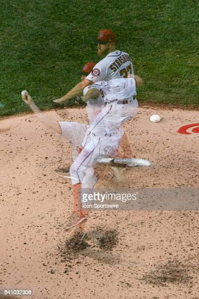 Washington Nationals starting pitcher Max Scherzer pitches in an in camera multiple exposure in the sixth inning during an MLB game between the Miami...