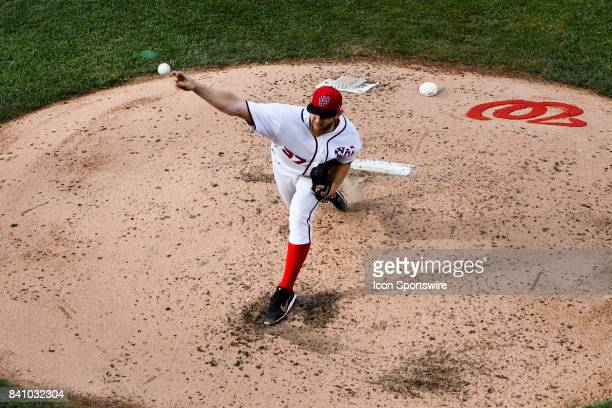 Washington Nationals starting pitcher Max Scherzer pitches in the sixth inning during an MLB game between the Miami Marlins and the Washington...