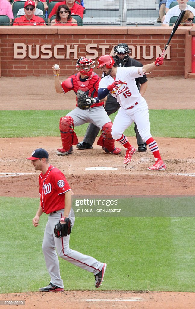 Washington Nationals starting pitcher Max Scherzer strikes out St. Louis Cardinals' Randal Grichuk during the fifth inning on Sunday, May 1, 2016, at Busch Stadium in St. Louis.