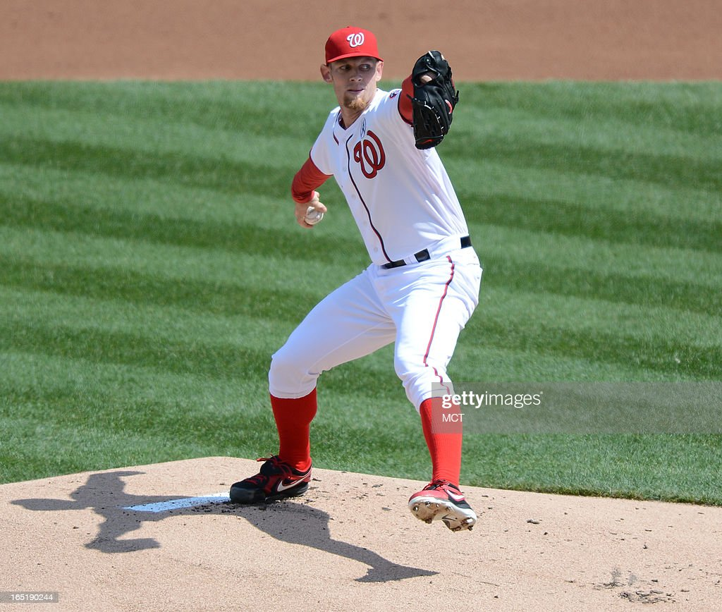 Washington Nationals starting pitcher Stephen Strasburg (37) delivers against the Miami Marlins in the first inning at Nationals Park in Washington, D.C., Monday, April 1, 2013.