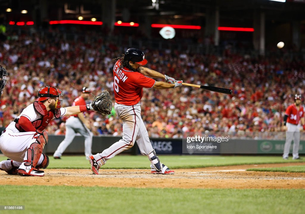 Washington Nationals Third base Anthony Rendon (6) hits a grand slam during game two against the Cincinnati Reds at the Great American Ballpark on July 15, 2017 in Cincinnati, Ohio.