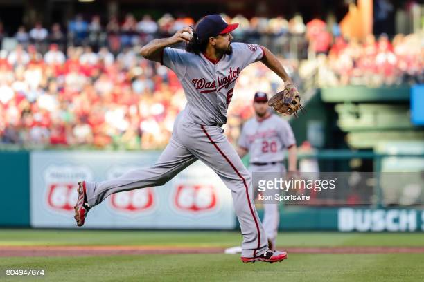 Washington Nationals third baseman Anthony Rendon throws to first for the out of St Louis Cardinals' Stephen Piscotty during the first inning of a...