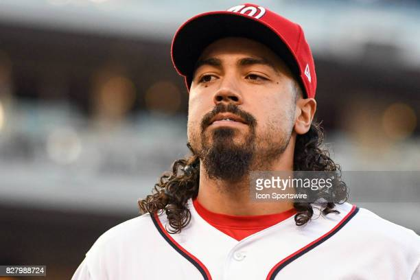 Washington Nationals third baseman Anthony Rendon walks into the dugout during an MLB game between the Miami Marlins and the Washington Nationals on...