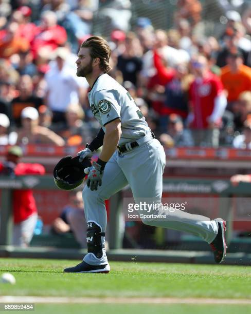 Washington Nations outfielder Bryce Harper reacts with rage after being hit by a pitch thrown by the San Francisco Giants Hunter Strickland during...