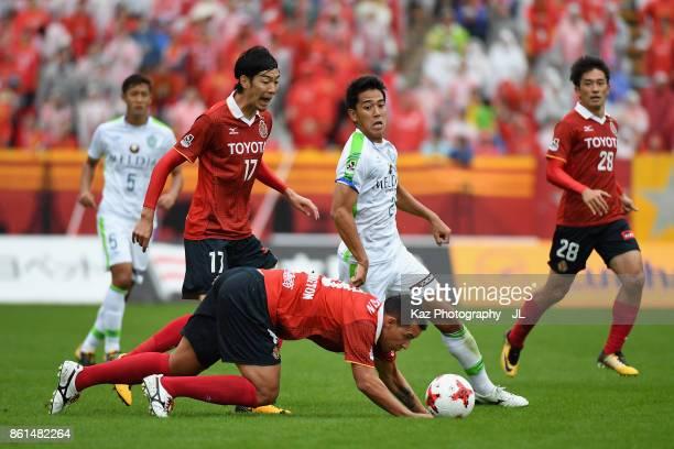 Washington of Nagoya Grampus is challenged during the JLeague J2 match between Nagoya Grampus and Shonan Bellmare at Paroma Mizuho Stadium on October...