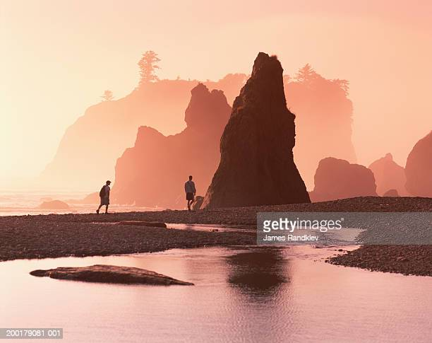 USA, Washington, Olympic National Park, Ruby Beach, sunset
