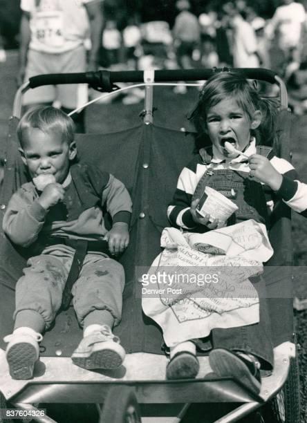 Washington Park 'Denver Symphony Run' Shot of little Morgan Evans eating a ice cream and his sister Elizabeth eating some yogurt Credit The Denver...