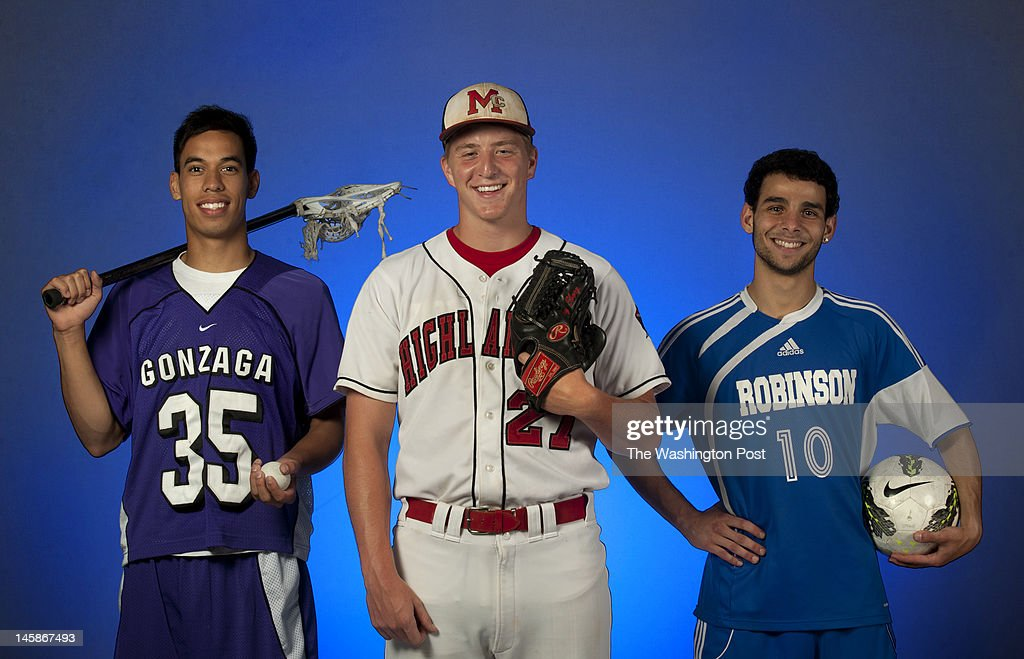 Washington Post All Met boys' lacrosse Player of the Year Gonzaga senior Connor Reed, baseball Player of the Year McLean senior Josh Sborz, and boys' soccer Player of the Year Robinson senior Ryan Harmouche photographed on May 29, 2012.