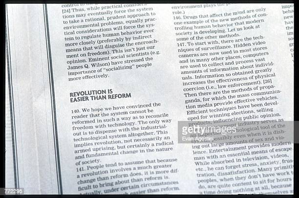 Washington Post newspaper contains the Unabomber's manifesto September 19 1995 in USA At the request of Attorney General Janet Reno and the FBI The...