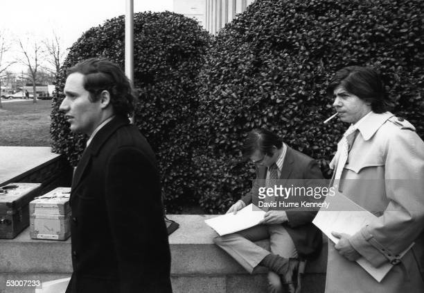 Washington Post Reporters Bob Woodward and Carl Bernstein walk from Federal court after covering the President Richard Nixon Watergate hearings March...