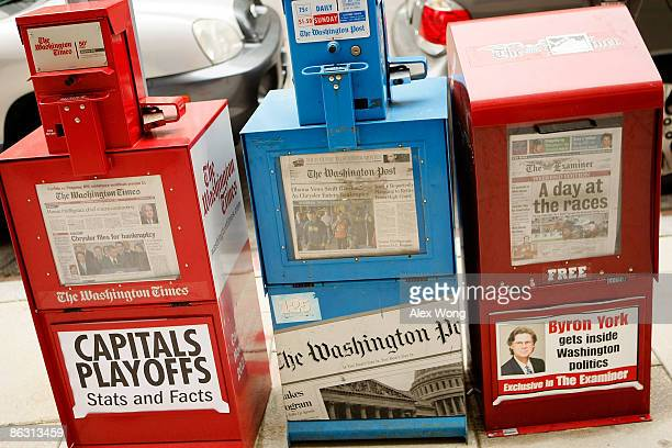 Washington Post vending machine is stocked with newspapers for sale on May 1 2009 in Washington DC The newspaper has announced its first quarter...