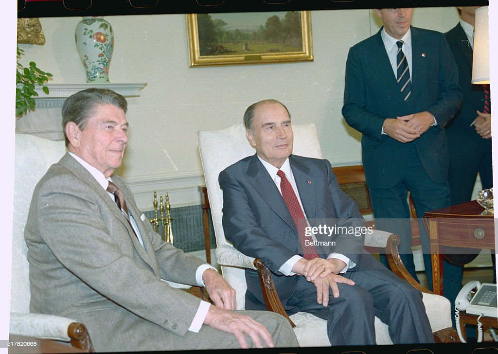 ronald reagan oval office. president reagan meets with french francois mitterrand right in the oval office ronald