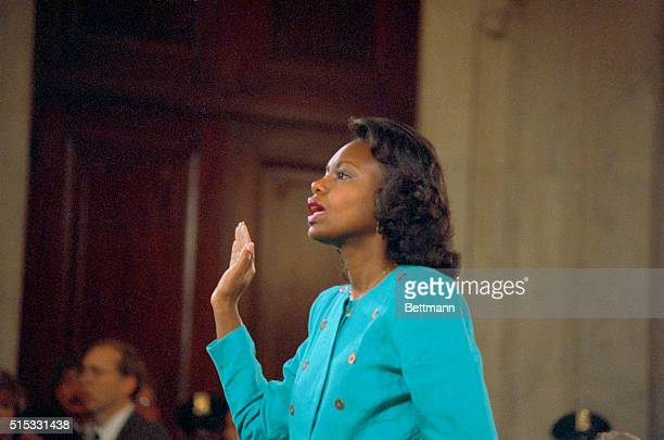 Professor Anita Hill is swornin before testifying at the Senate Judiciary hearing on the Clarence Thomas Supreme Court nomination Miss Hill testified...