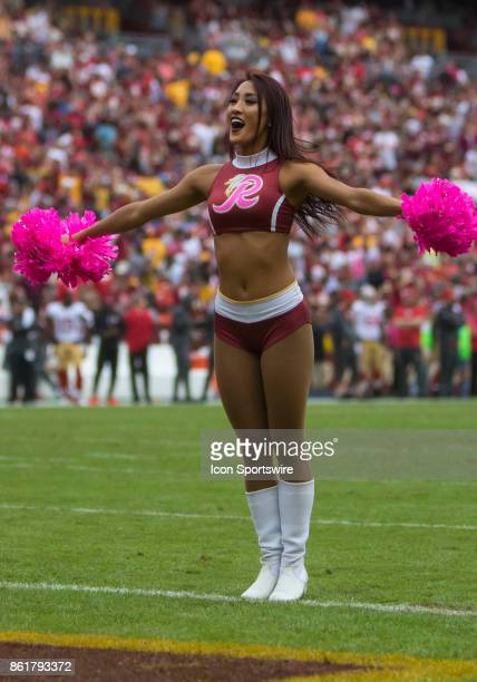 Washington Redskins cheerleader performing a routine during a football game between the San Francisco 49ers and Washington Redskins on October 15 at...