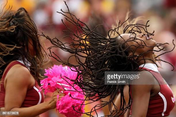 Washington Redskins cheerleaders dance at FedExField on October 15 2017 in Landover Maryland