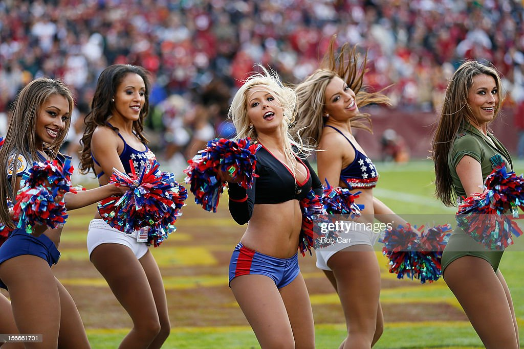 Washington Redskins cheerleaders perform during the Redskins and Philadelphia Eagles game at FedEx Field on November 18, 2012 in Washington, DC.