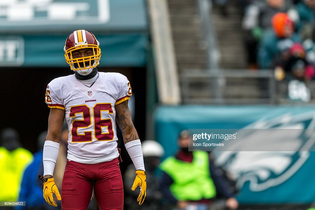 Washington Redskins cornerback Bashaud Breeland (26) looks on during the game between the Washington Redskins and the Philadelphia Eagles on December 11, 2016 at Lincoln Financial Field in Philadelphia PA.