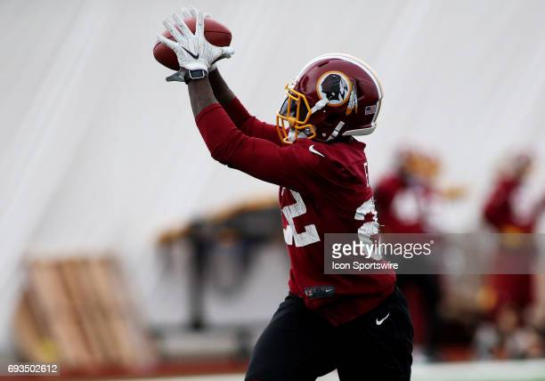 Washington Redskins cornerback Deshazor Everett in action during an OTA practice session on June 07 at Inova Sports Performance Center at Redskins...