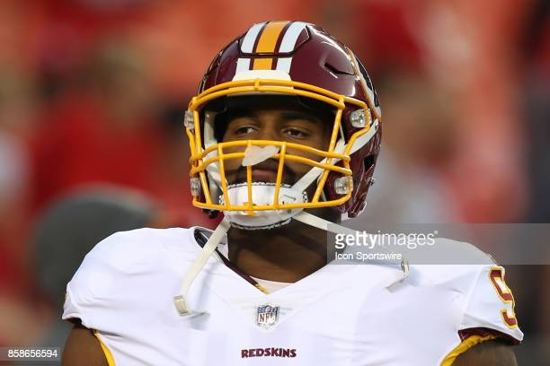 Washington Redskins defensive end Jonathan Allen before an NFL game between the Washington Redskins and Kansas City Chiefs on October 2 2017 at...