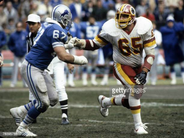Washington Redskins defensive tackle Dave Butz battles Lions guard Don Greco during the Redskins 317 victory over the Detroit Lions in the 1982 NFC...