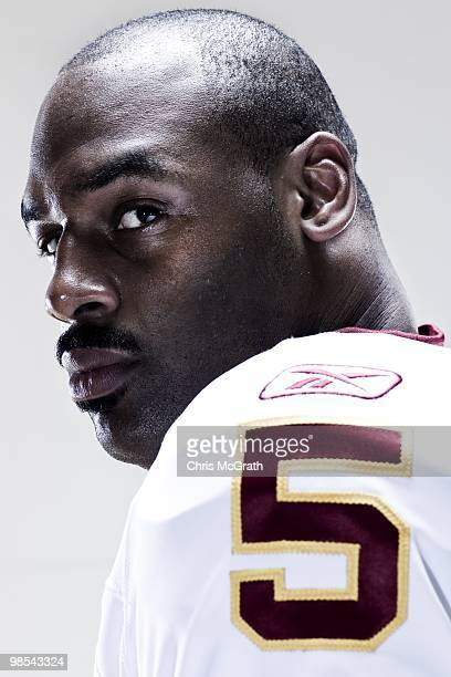 Washington Redskins Donovan McNabb poses for portraits at the Washington Redskins training facility on April 15 2010 in Ashburn Virginia