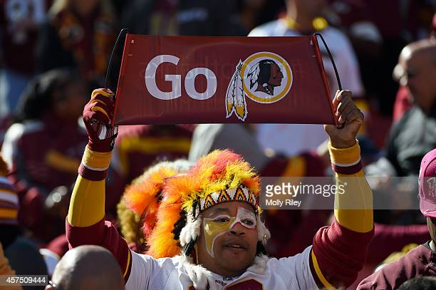 Washington Redskins fan looks on before their game against the Tennessee Titans at FedEx Field on October 19 2014 in Landover Maryland