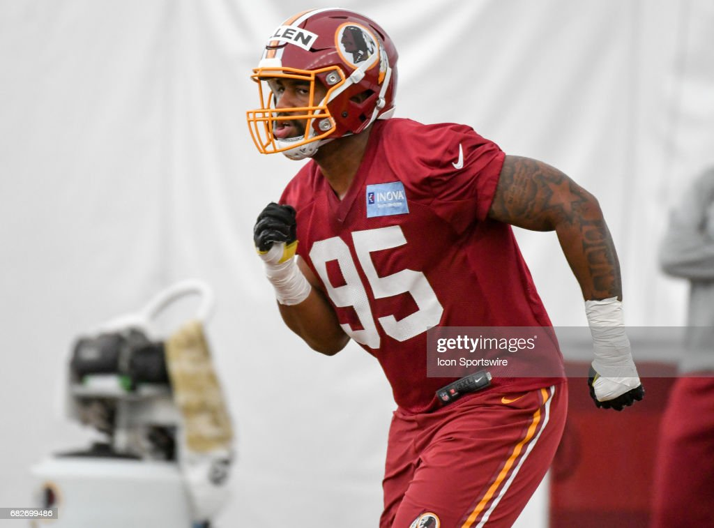 Washington Redskins first round pick, defensive lineman Jonathan Allen (95) participates in the Redskins rookie minicamp on May 13, 2017, at Redskins Park in Loudoun County.