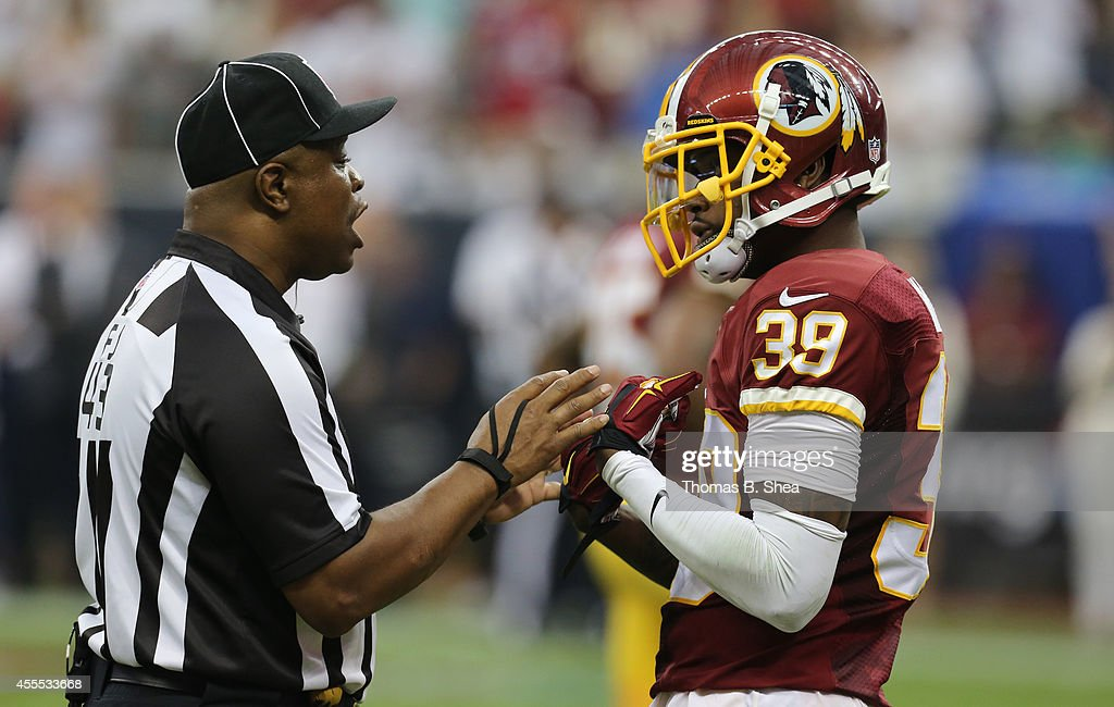 Washington Redskins free safety <a gi-track='captionPersonalityLinkClicked' href=/galleries/search?phrase=David+Amerson&family=editorial&specificpeople=7244765 ng-click='$event.stopPropagation()'>David Amerson</a> #39 talks to an official during the Houston Texans game on September 7, 2014 at NRG Stadium in Houston, Texas.