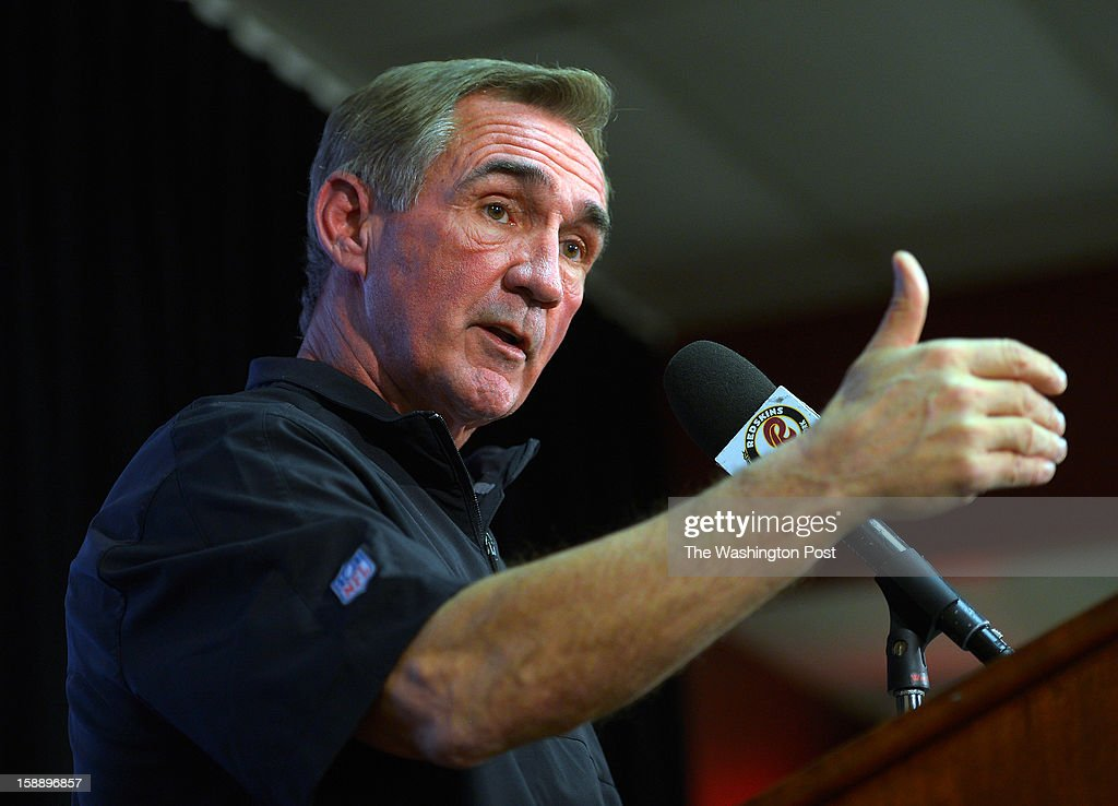 Washington Redskins head coach Mike Shanahan talks during a press conference on the upcoming playoff game against the Seattle Seahawks. The conference was held at Redskins Park in Ashburn VA, January 2, 2012 .
