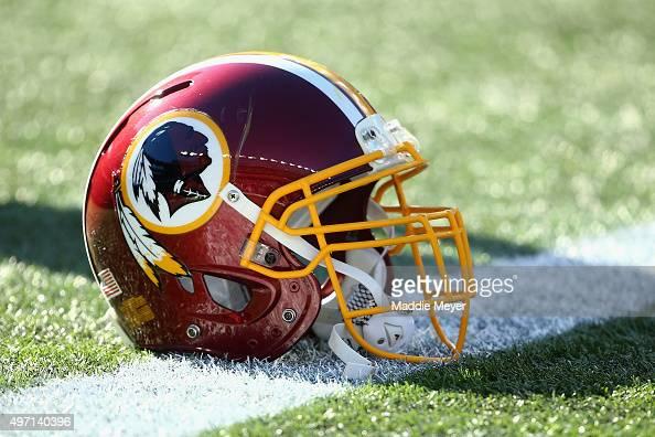 Washington Redskins helmet before the game against the New England Patriots at Gillette Stadium on November 8 2015 in Foxboro Massachusetts