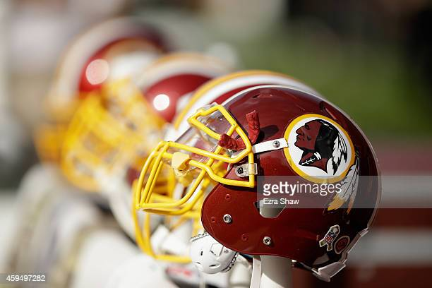 Washington Redskins helmets on the sideline during their game against the San Francisco 49ers at Levi's Stadium on November 23 2014 in Santa Clara...