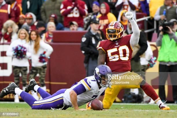 Washington Redskins inside linebacker Martrell Spaight celebrates his fourth quarter sack of Minnesota Vikings quarterback Case Keenum on November 12...