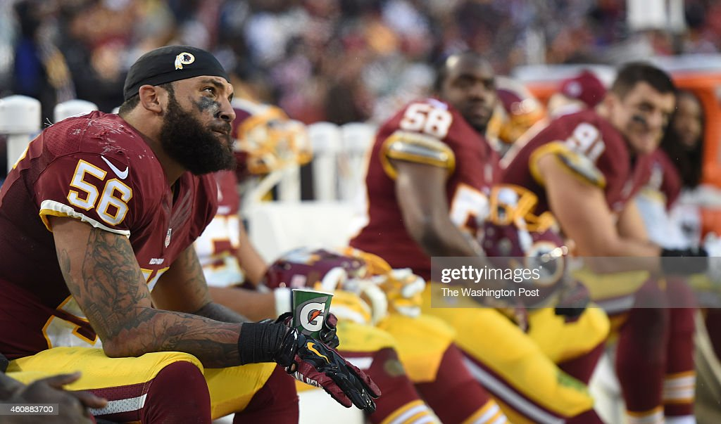 Washington Redskins inside linebacker Perry Riley and teammates on the bench in the fourth quarter as the Washington Redskins are defeated by the...