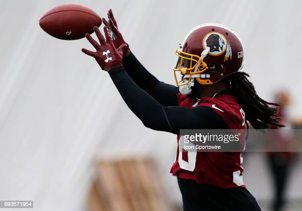 Washington Redskins inside safety DJ Swearinger in action during an OTA practice session on June 07 at Inova Sports Performance Center at Redskins...