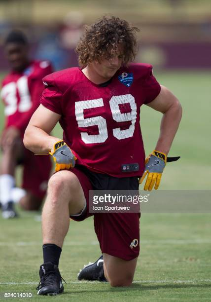 Washington Redskins linebacker Zach Vigil stretching during day one of Redskins training camp on July 27 2017 at Bon Secours Training Center in...