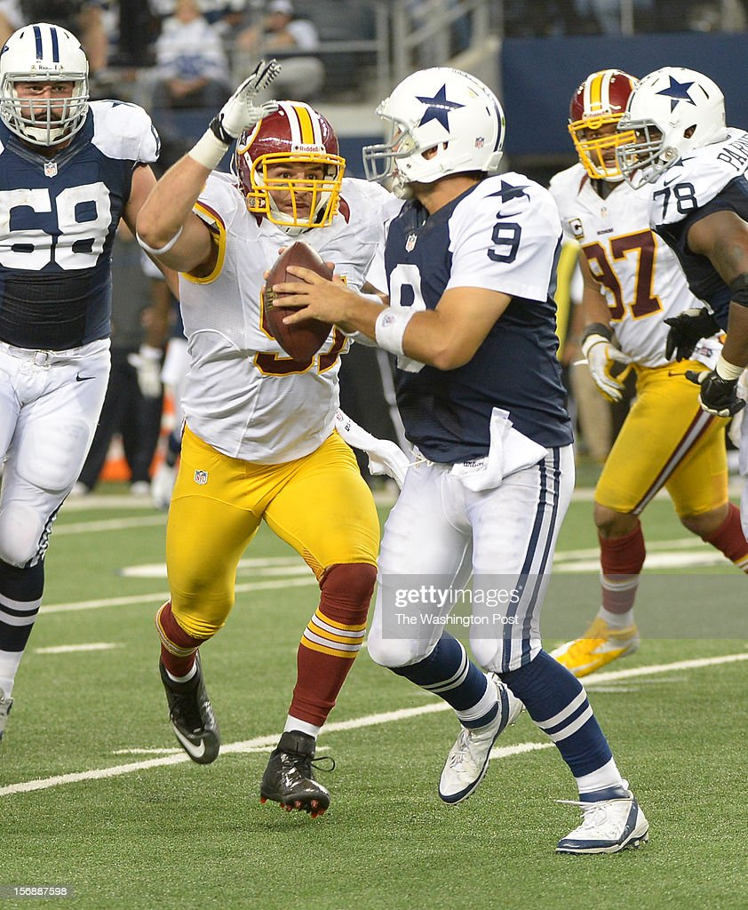 Washington Redskins outside linebacker Ryan Kerrigan (91) zeros in on Dallas Cowboys quarterback Tony Romo (9) for a 4th quarter sack on November. 22, 2012 in Arlington, TX